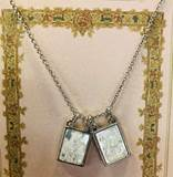 "Double Scapular Necklace 18"" Rhodium with 2"" Extender - carded"