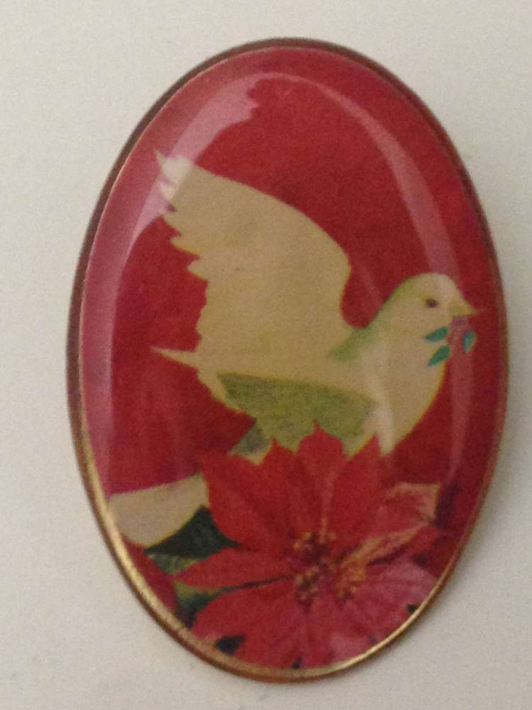Dove With Poinsettia Lapel Pin