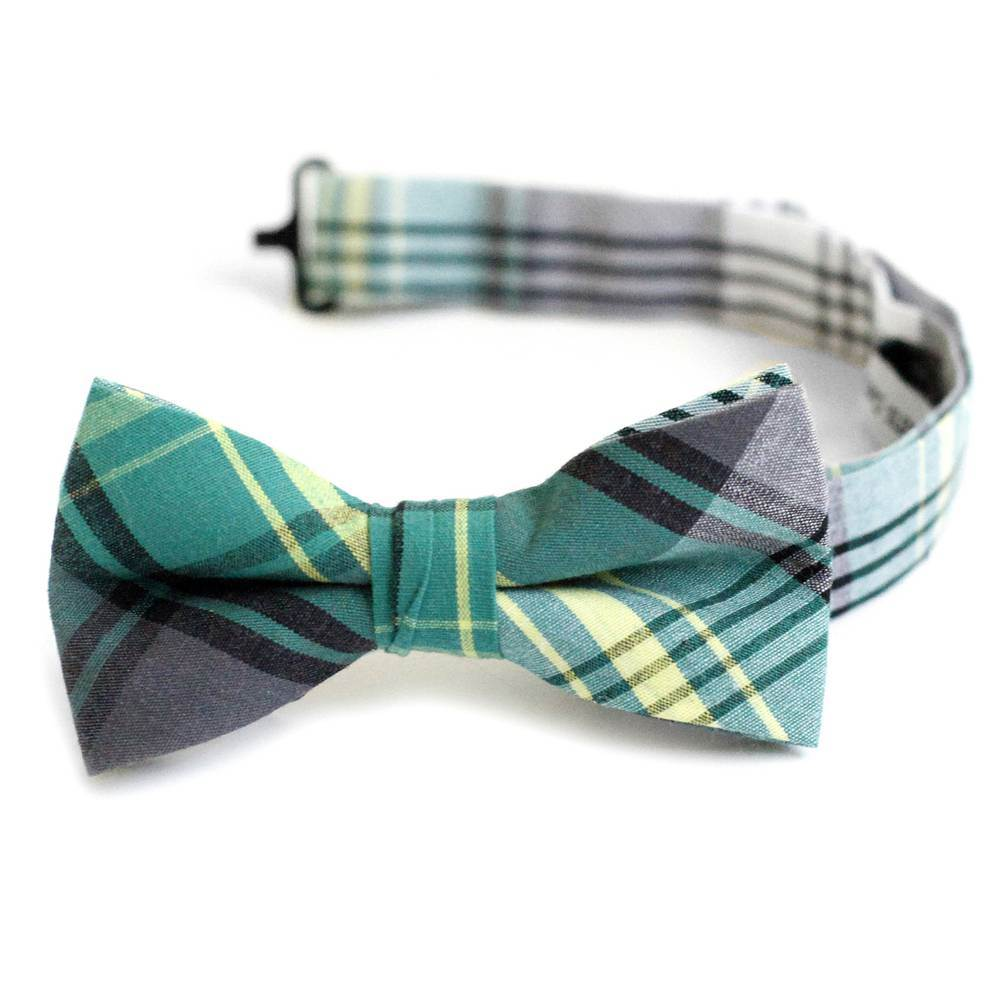 Green, Grey, Yellow & White Plaid Bow Tie