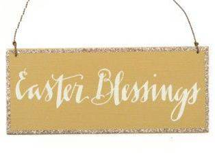 Easter Blessings Wood and Wire Sign