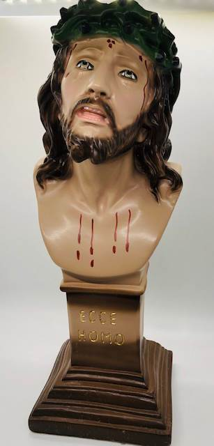 "Ecce Homo 12.5"" Plaster Statue from Italy Head of Christ"