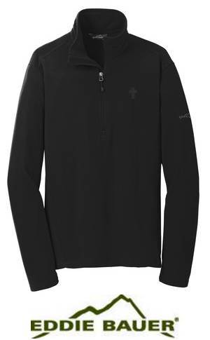 Eddie Bauer® Black Quarter Zip with Embroidered Cross priest apparel, priest pullover, priest shirt, clergy apparel, clergy golf shirt, CLERGY OUTERWEAR, CLERGY QUARTER ZIP, CLERGY PULLOVER, CLERGY BLACK COAT