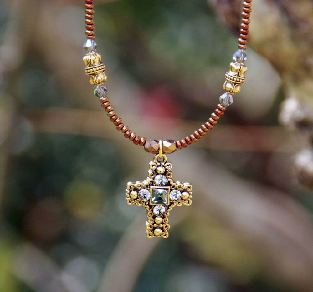 Elegant Beaded Cross Necklace cross  necklace, jewelry, goldtone cross, cross, sacramental gift, necklace gift, beaded necklace, IN-604