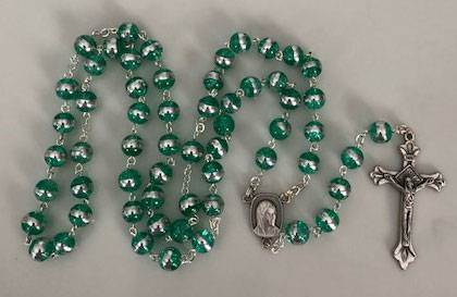 Emerald Glass Rosary with Silver Band in Center of Bead, Made in ItalyEmerald Glass Rosary with Silver Band in Center of Bead, Made in Italy