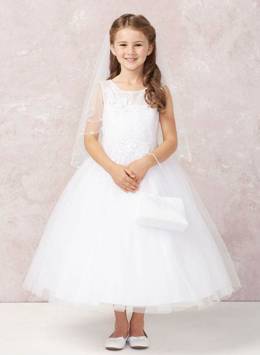 Emily White First Communion Dress Lovely Diagonal Embroidery with Lace Applique and a Soft Mesh Skirt