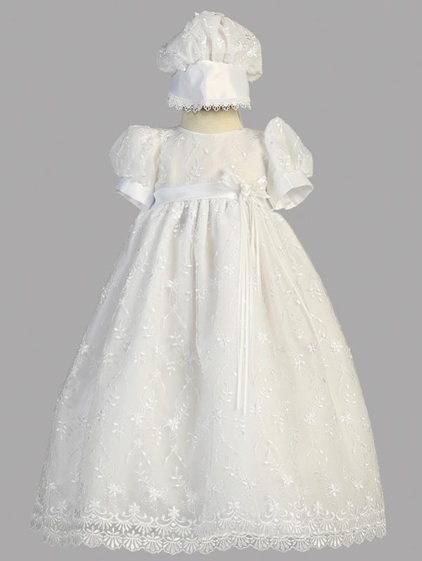 Emma Embroidered Tulle Christening Gown, 6-12 Month