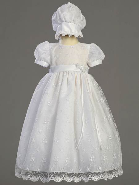 'Emma' Embroidered Tulle Christening Gown