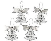 Enamel Tin Tree Shaped Ornaments w/Asst Messages, Sold Each