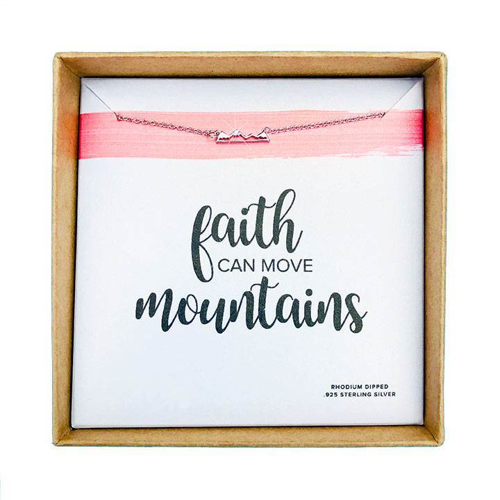 Faith Can Move Mountains Necklace Silver