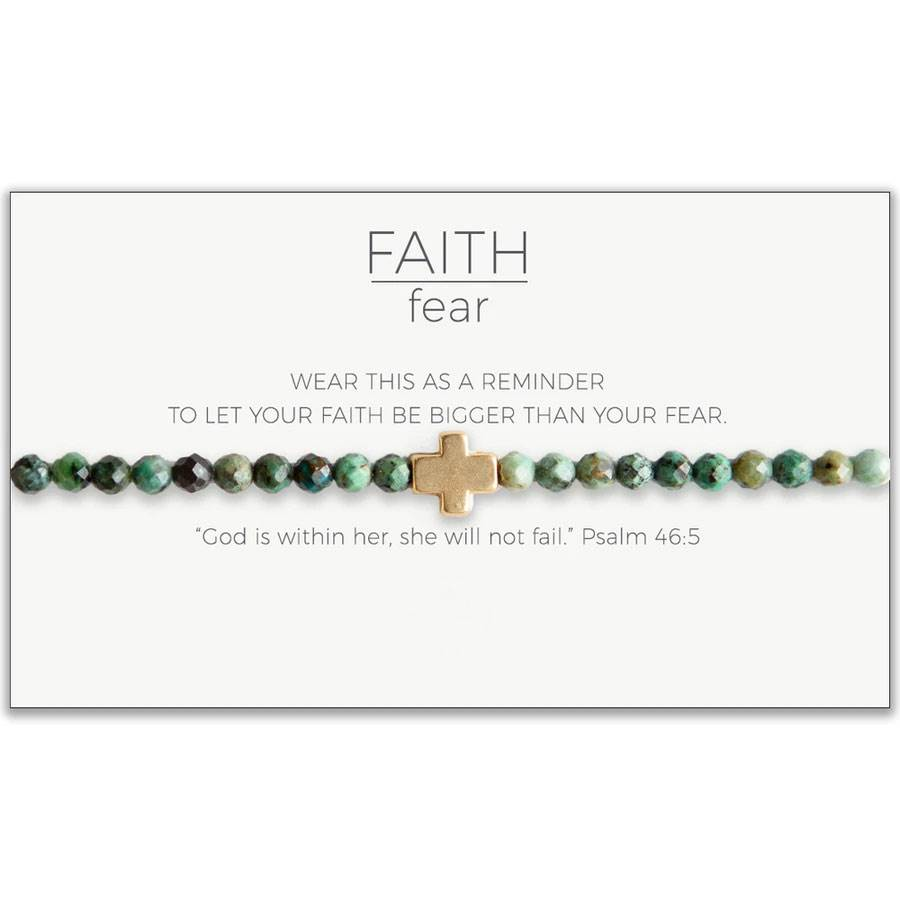 Faith Over Fear Stretch Bracelet, African Turquoise