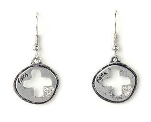 Faith Round Charm Earrings