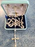 6mm Sterling Silver Fancy Rose Crystal Capped Rosary