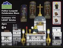 Father Leopold Celebrates Mass Catholic Building Block Play Set DCS1234, lego, building block set, catholic lego, catholic kids gift, childrens gift, church lego set, mass lego set