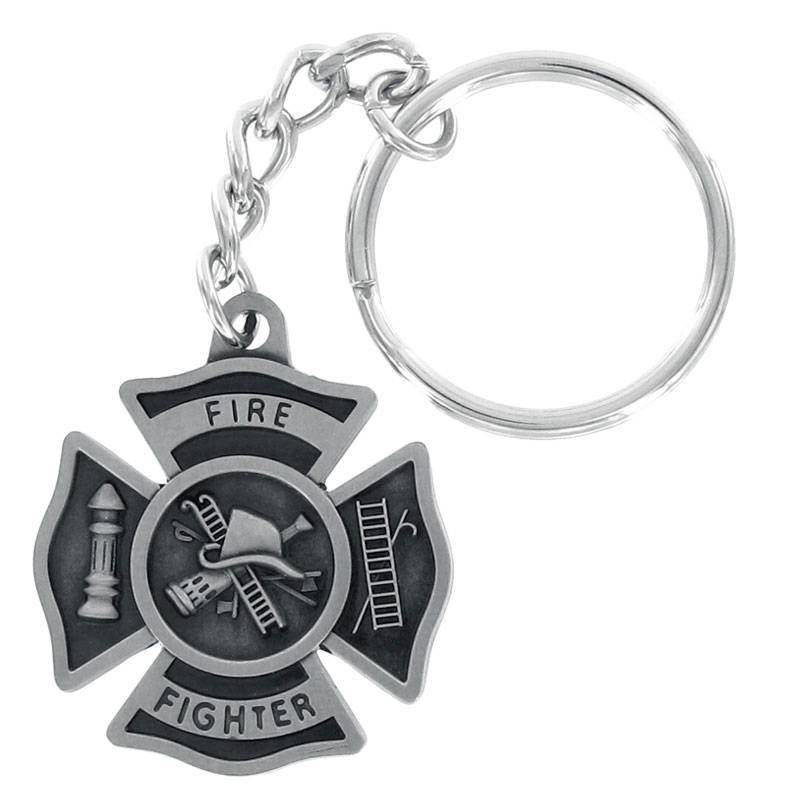 Firefighter Cross Keychain FREE ENGRAVING + SHIPPING!