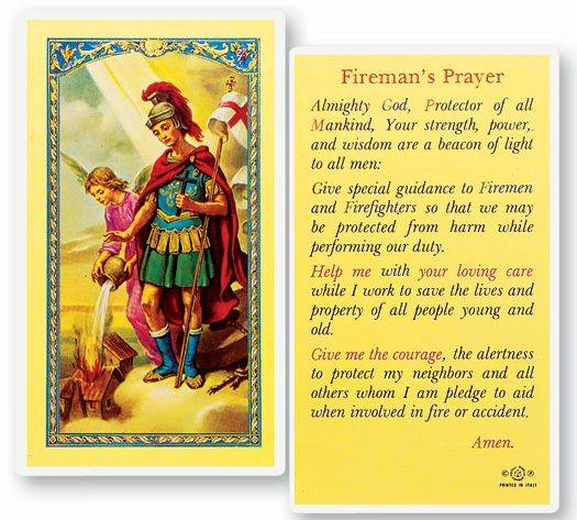 Fireman's Prayer St. Florian Laminated Prayer Card