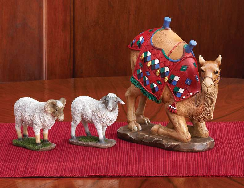 "First Christmas Gifts 3 Piece Camel and Sheep Set, 7"" Scale"