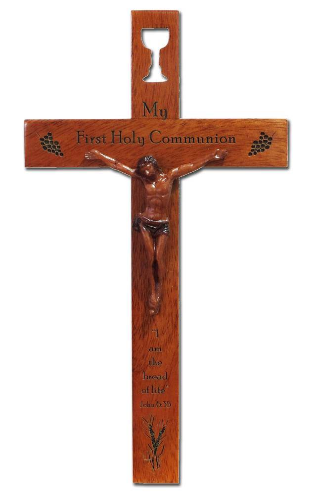 "First Communion 8"" Mahogany Crucifix"