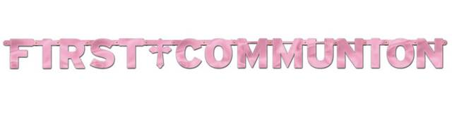 First Communion Banner Pink
