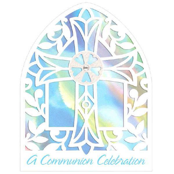 First Communion Blue Cathedral Window Party Invitations