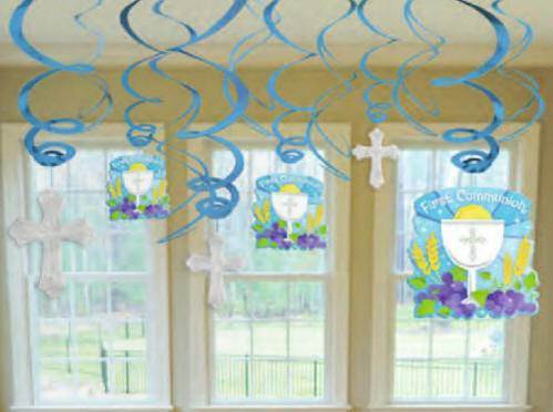 First Communion Blue Foil Swirl Decoration Value Pack
