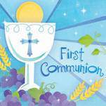 First Communion Blue Paper Napkins 719576, 709576, first communion partyware,  partyware, blue partyware, girl first communion party, boy first communion party, paper products, bev napkins, lunch napkins,