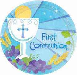 First Communion Blue Plates 749576, 729576, first communion partyware, blue partyware, boy first communion , boy first communion party, first communion party, paper products, blue plates, boy party,  first communion plates