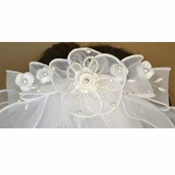 First Communion Bow Barrette with Veil