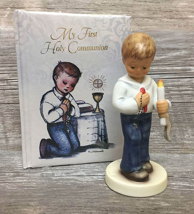 First Communion Boy Figurine with Prayer Book