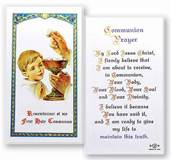 First Communion Boy Laminated Holy Card