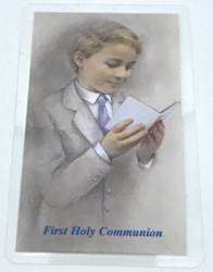 First Communion Boy Laminated Prayer Card