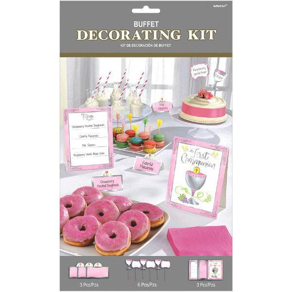First Communion Buffet Decorating Kit, Pink