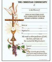 Full Communion Certificate with Envelope certificate, church goods, sacramental certificates, baptism, first communion, confirmation, marriage, death,200FC w/envel