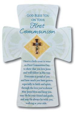 First Communion Cross Lapel Pin on Card