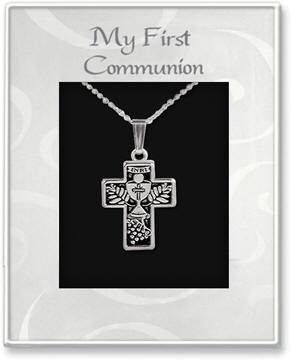 First Communion Cross Pendant first communion pendant, necklace, first communion gift, holy eucharist gift, holy eucharist necklace, holy eucharist pendant, girl gift,chalice pendant, silver plated,cross pendant
