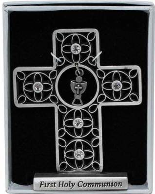First Communion Cross with Crystals