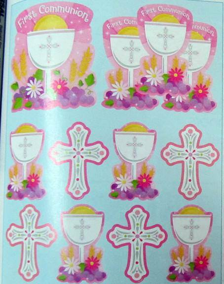First Communion Cutout Kit, Pink 190147,first communion decoration, first communion cutout, hanging decorations, pink decoration, party decorations, partyware, paper product, sacramental party supplies, first communion partyware, ,boy partyware, girl partyware
