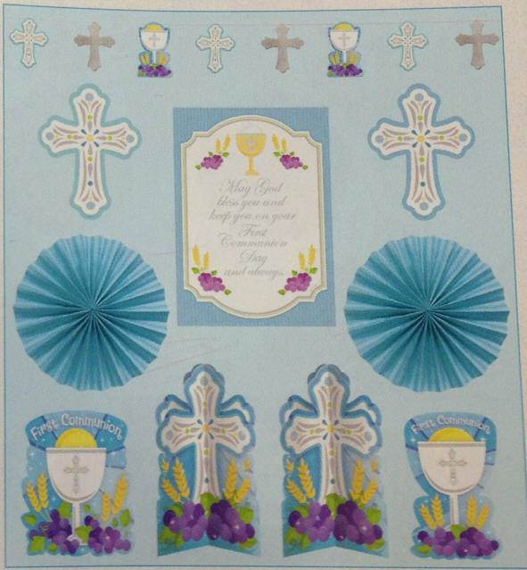 First Communion Decorating Kit, Blue 240048,first communion decoration, first communion cutout, party decoration, blue cutouts,partyware, paper product, sacramental party supplies, first communion partyware,boy partyware, girl partyware, decoration kit