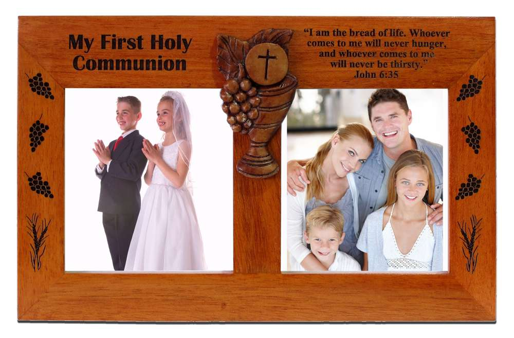 First Communion Double Picture Frame wood frame, picture frame, photo frame, mahogany frame, communion frame, eucharist frame. communion gift, N2215HC