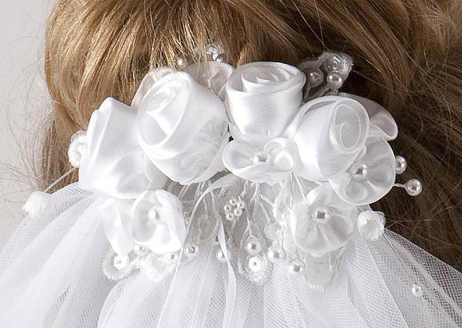 First Communion Floral Veil