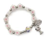 First Communion Flower Bracelet with Chalice Charm & Pink Organza Bag