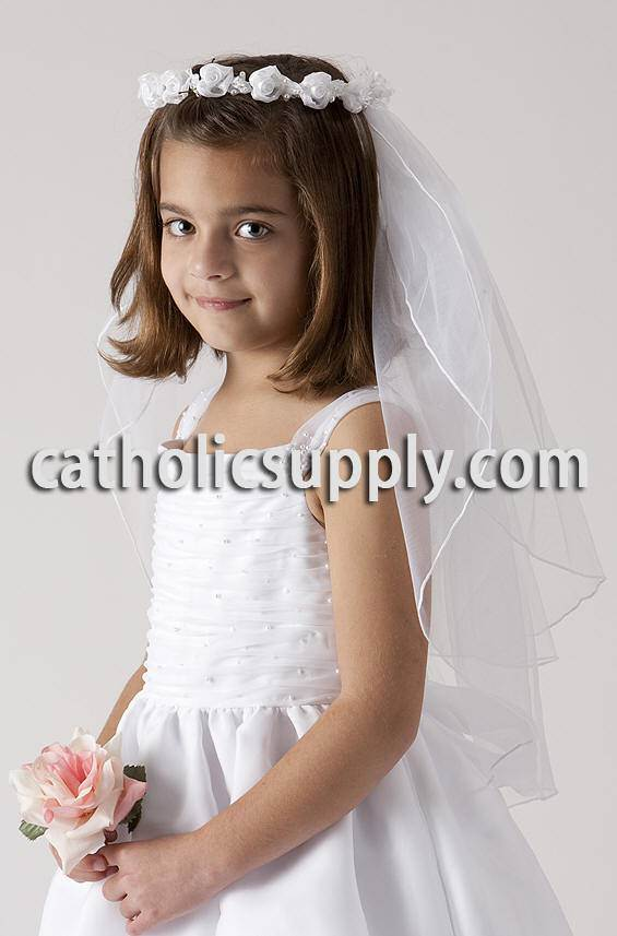 First Communion Flower Crown Veil