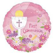 First Communion Foil Balloon Pink