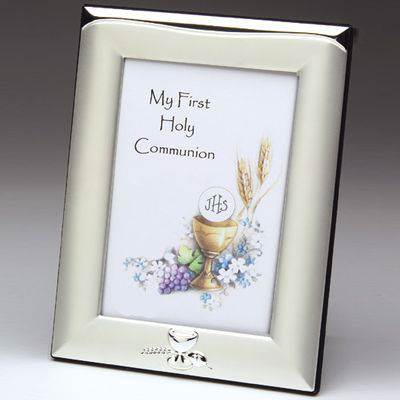 First Communion Frame first commmunion frame, silver frame, picture frame, picture holder, brushed silver, chalice frame, first communion gift, home decor, 13128
