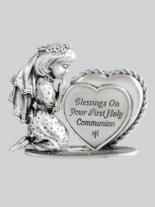 First Communion Girl Figurine with Heart