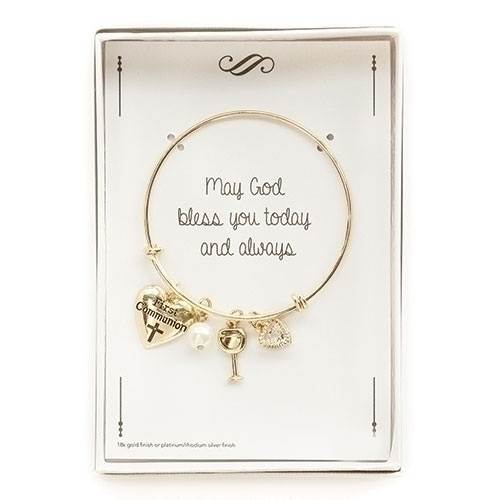 First Communion Gold Bangle Bracelet