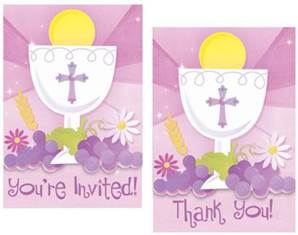First Communion Pink Invitations and Thank You Cards