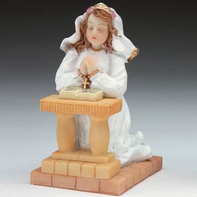First Communion Kneeling Girl Caketopper