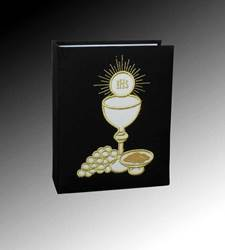 First Communion Photo Album, Black Cloth with Gold Embroidery