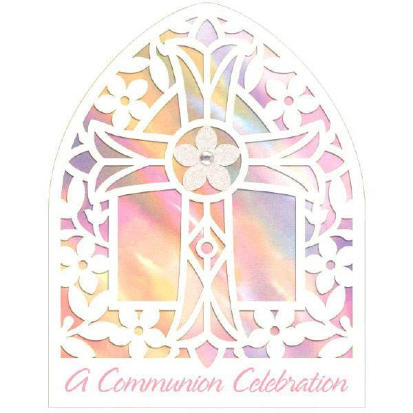 First Communion Pink Cathedral Window Party Invitations