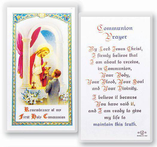 First Communion Prayer, Boy Laminated Holy Card